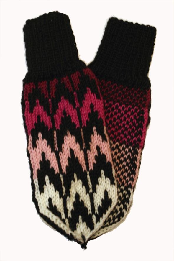 mittens handmade pink black