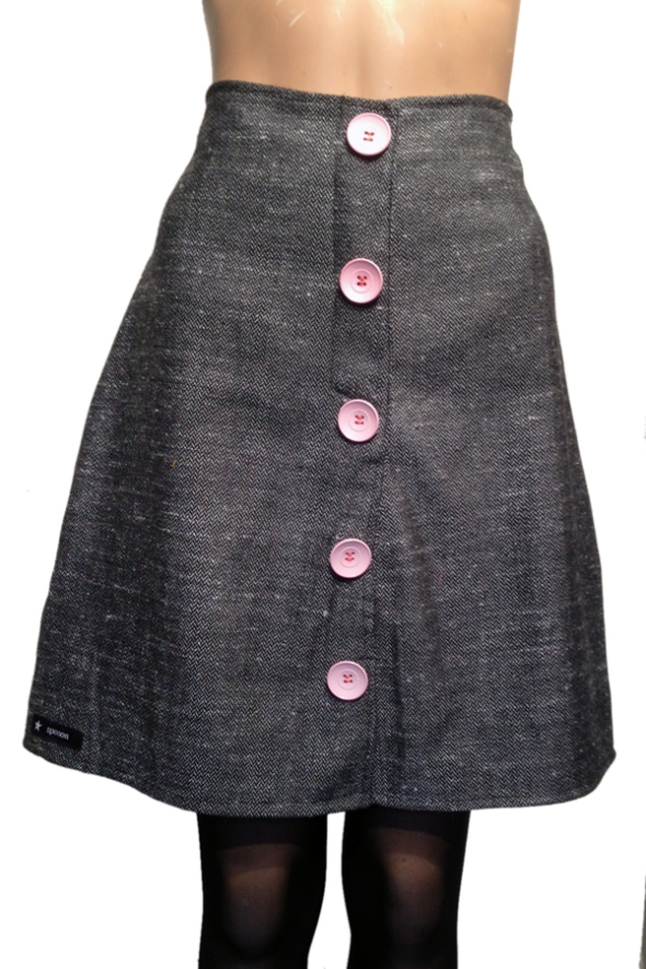 spooon skirt wool pink button and grey