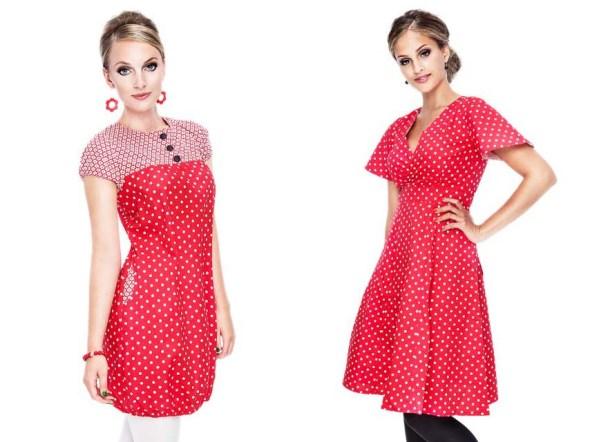 röd klänning polkadot